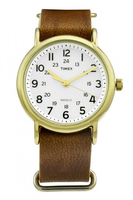 Timex Exclusive Weekender Watch on a tan leather strap