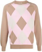 Maison Flaneur argyle pattern cotton jumper