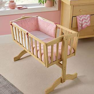 Clair De Lune Lullaby Stars Crib/Cradle Quilt and Bumper Bedding Set - Blush Pink