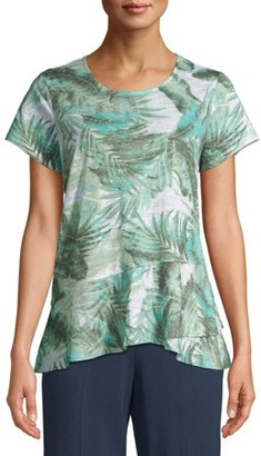 Time and Tru Women's Short Sleeve Peplum Sublimation T-Shirt