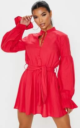 PrettyLittleThing Red Balloon Sleeve Tie Skater Dress