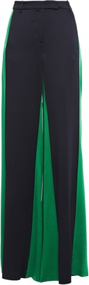 Valentino Two-tone Satin-crepe Wide-leg Pants