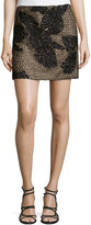 J. Mendel Embroidery Mini Skirt, Noir