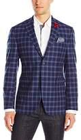 Original Penguin Men's Two Button Slim Fit Blue Check Blazer