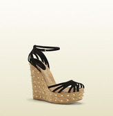 Gucci Cecyl Black Suede Studded Wedge