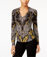 INC International Concepts Petite Printed Zip-Front Blouse, Only at Macy's