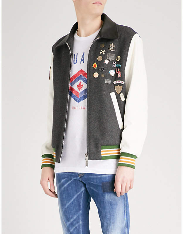 DSQUARED2 Patchwork wool-blend and leather jacket