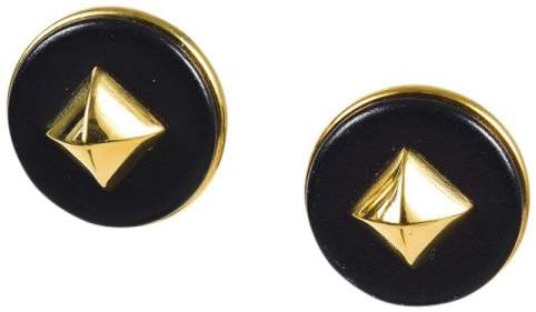 Hermes Black Gold Tone Metal & Leather Earrings