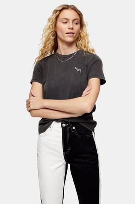 Topshop Charcoal Grey Zebra Motif T-Shirt