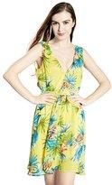 Sapphyra Women's Floral V-neck Knee Length Big Hem Sweetheart Swing Dress