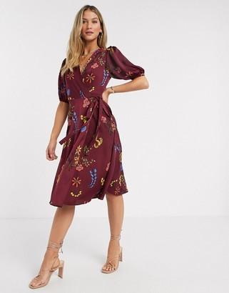 Liquorish wrap midi dress in burgundy floral print