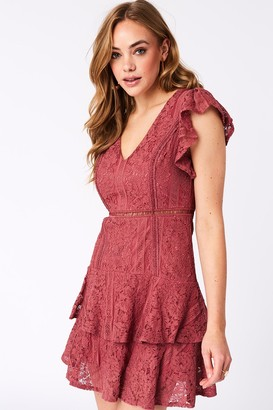 Girls On Film Sensation Deep Rose Lace Frill Mini Dress
