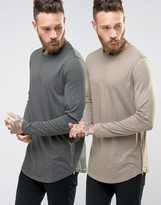 Asos Super Longline Long Sleeve T-Shirt With Curve Hem And Zip 2 Pack