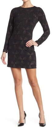 Vince Camuto Long Sleeve Geometric Print Body Dress