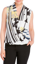 Milano Tropical Draped Georgette Blouse