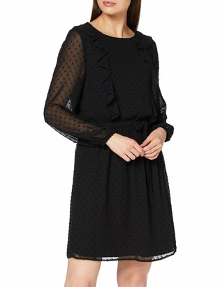 Dorothy Perkins Women's Black Long Sleeve Ruffle Dobby Fit and Flare Dress Casual 12