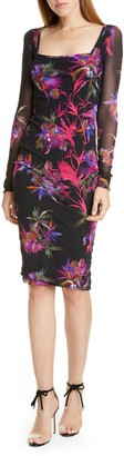 Fuzzi Floral Embroidered Long Sleeve Dress