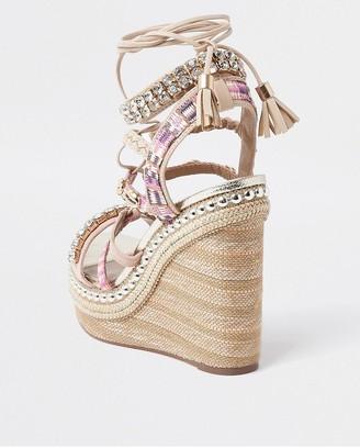 River Island Embellished Lace Up Platform Wedge Sandals - Pink