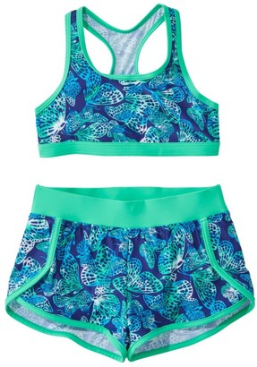 L.L. Bean Girls' BeanSport Short Set Swimsuit, Print