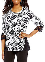 Multiples 3/4 Sleeve Print Knit Top with Lace Accents