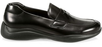 Prada Spazzolato Rois Leather Penny Loafers