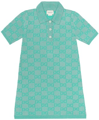 Gucci Kids GG wool-blend lame shirt dress