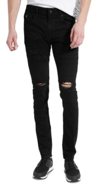 GUESS Men's Skinny-Fit Zipper Moto Jeans