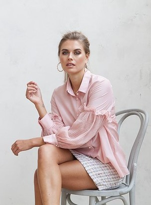 Jovonna London Pink Lexington Shirt With Feminine Details - S | pink - Pink/Pink