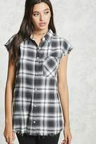 Forever 21 FOREVER 21+ Frayed Plaid Buttoned Shirt