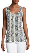 Neiman Marcus Superfine Sunburst Silk-Blend Tank