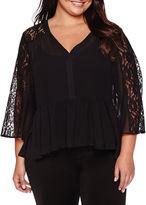 Boutique + Boutique+ Long-Sleeve Lace-Inset Peplum Blouse