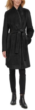 Calvin Klein Petite Belted Faux-Fur-Front Teddy Coat
