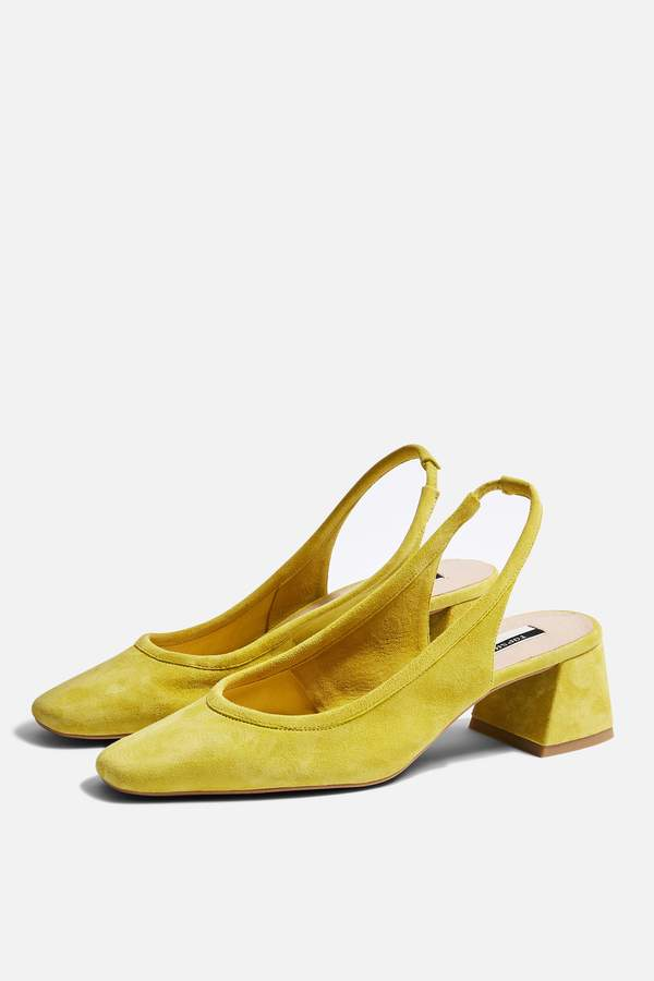 Topshop JELLY Yellow Slingback Heels
