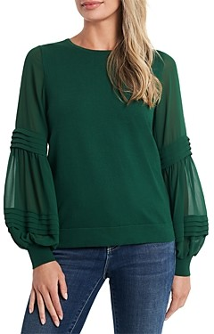 CeCe Puff Sleeve Mix Media Sweater