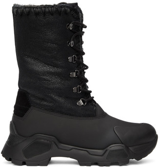 Mou Black Lace-Up Mountain Boots