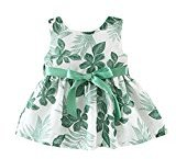 Fheaven Baby Girls Summer Princess Sleeveless Dress Leaf Printing Blet Bowknot Party Dress (1T, Green)