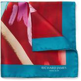 Richard James - Kingfisher-print Silk-twill Pocket Square