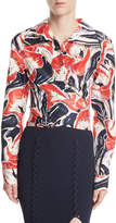 Opening Ceremony Lily Wrap-Front Floral-Printed Silk Shirt