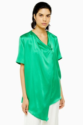 Topshop Green Silk Blouse