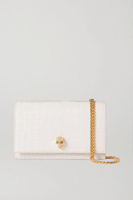 Alexander McQueen Skull Croc-effect Leather Shoulder Bag - White