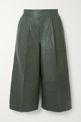 REMAIN Birger Christensen Duchesse Pleated Leather Shorts - Dark green