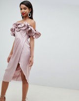 Asos Design DESIGN Occasion Satin Pencil Dress With Extreme Ruffle Bandeau
