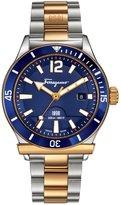 Salvatore Ferragamo 43mm 1898 Sport Men's Two-Tone Bracelet Watch, Blue