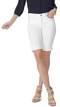 NYDJ Briella Cuffed Denim Bermuda Shorts in Optic White