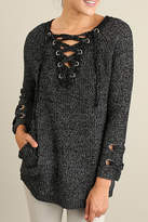 Umgee USA Lace Up Sweater