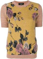 Rochas roses pattern knitted blouse - women - Acetate/Mohair/Virgin Wool - 40
