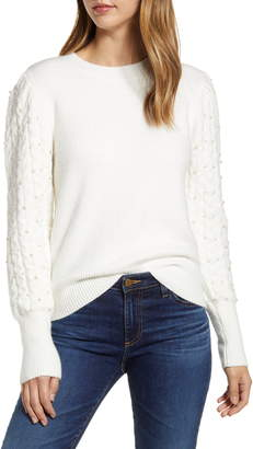 Rachel Parcell Imitation Pearl Embellished Puff Sleeve Sweater