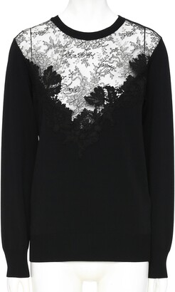 Valentino Lace Panel Sweater