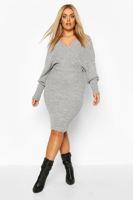 boohoo Plus Wrap Knittted Midi Dress