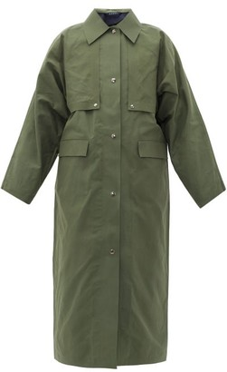 Kassl Editions Waxed-cotton Trench Coat - Khaki